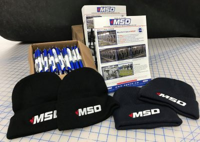 MSD Flyer, Pens and Embroidery