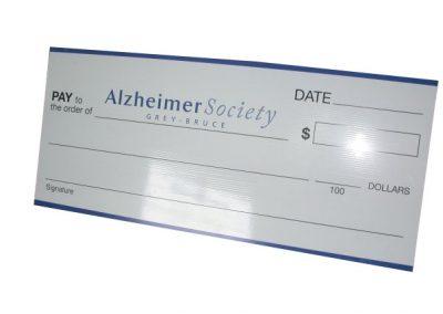 Alzheimer Society Cheque